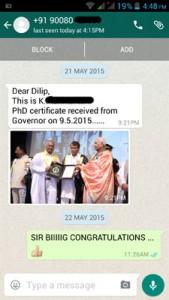 Sir Manikantan Whatsapp Testimonial