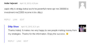 NiftyOptionsTrading.in Testimonial by Inder Tejwani