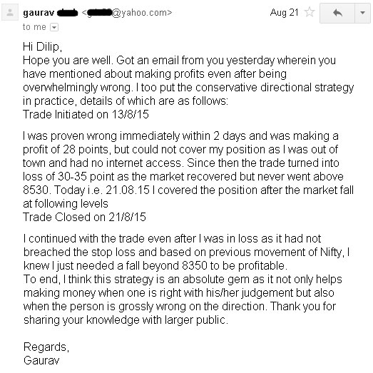 Testimonial by Gaurav - Another trader who was wrong in Nifty Future trade still made profit - Results may vary for users