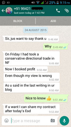 WhatsApp Testimonial 24 Aug 15