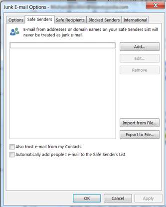 Outlook Junk Add Email