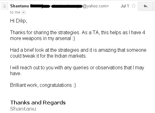 Testimonial by Shantanu a Technical Analyst - Results may vary for users