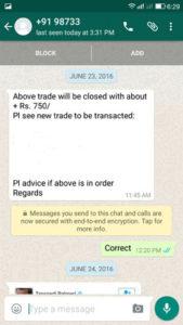 WhatsApp Testimonial 23 June 2016