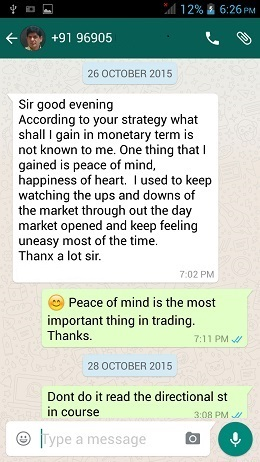 WhatsApp Testimonial by my client on 26 Oct 2016