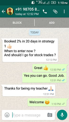 WhatsApp Testimonial on 21 October 2016 - Results may vary