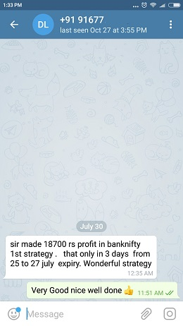 Bank Nifty Oct 17 Testimonial