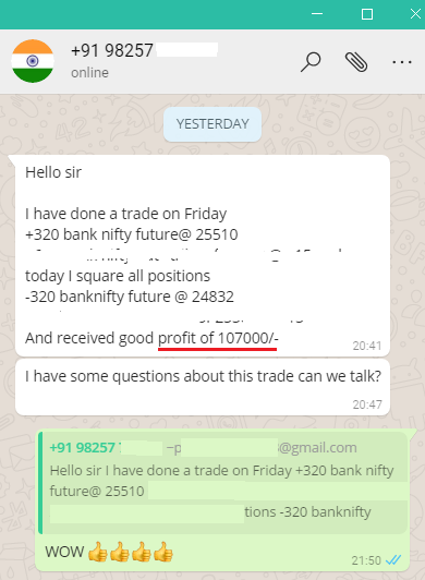 Bank Nifty Testimonial 1 Lakh Profit - Results may vary